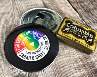Wedding Favour Bottle Openers (Fridge Magnets) - Rainbow Vinyl Record Design Complete With Organza Bags x40