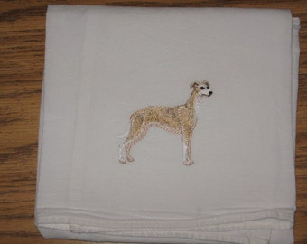Machine Embroidered Whippet Flour Sack Dish Towel