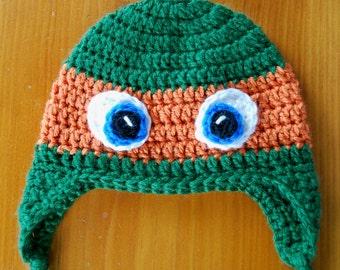 Ninja Turtle Hat, Ninja Turtle Inspired Hat, Ninja Turtle Crochet Hat, Hat for Baby, Hat for Child, Newborn to Adult, Christmas Gift Idea