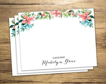 Custom Notecards, Personalized Flat Cards Set Of 15, Floral Garden Print Note Cards, Custom Stationery Cards, Watercolor Flowers Notecards
