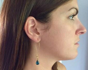 Navy Blue Swarovski Crystal Pear Shaped Earrings, Long Chrystal Earrings, Navy Blue Earrings Sapphire Earrings, Bridesmaid Earrings, Wedding