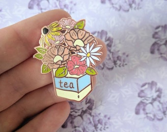 Wildflower Tea - flower bouquet hard enamel pin