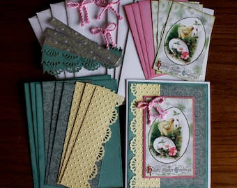 "Hand Made Vintage Image ""Hearty Easter Greetings"" Card Kit in Juniper, Buttercup and Pink - 4 cards and envelopes"