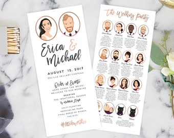 Wedding Programs with Portraits of Wedding Party, Fun Wedding Programs, Fun Ceremony Programs with Bridal Party - DESIGN fee
