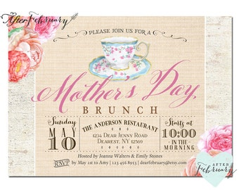 Mother's Day Invitation // Mother's Day Brunch Invitation // Mother's Day Tea Party Invite  Rustic Watercolor Floral Printable No.13MOM