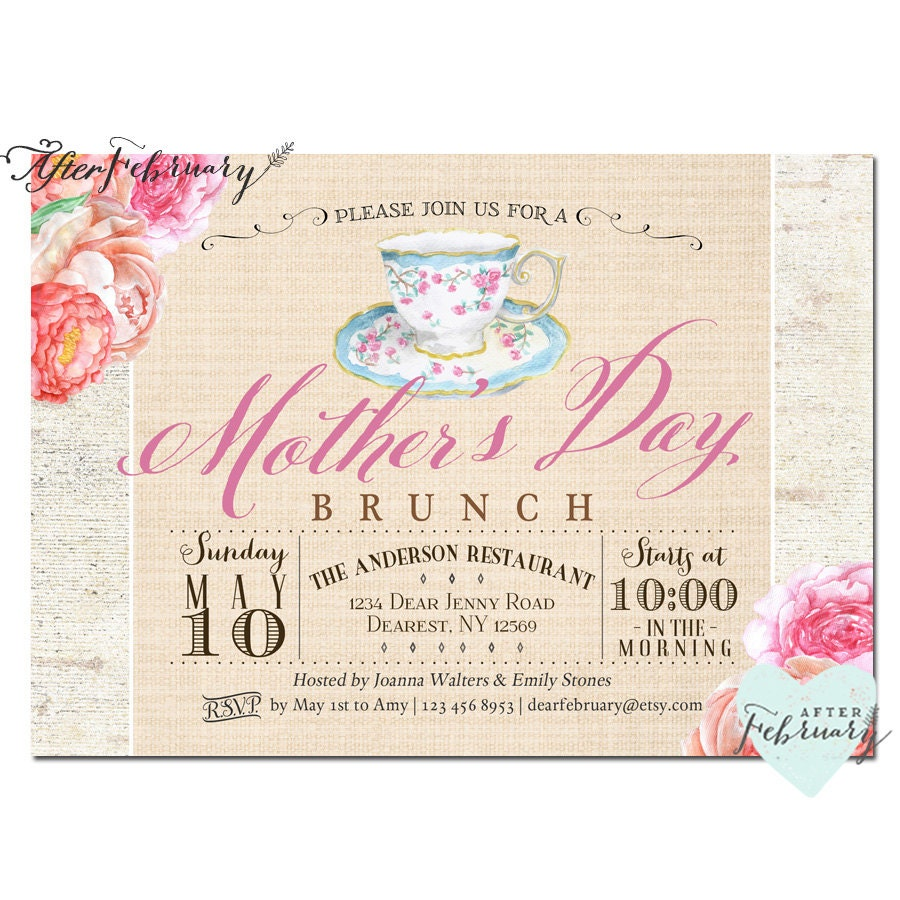 Mothers Day Invitation Mothers Day Brunch