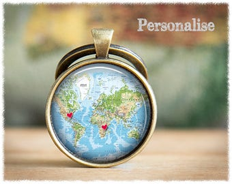 Long Distance Friendship • Best Friend Gift • Personalized Keychain • World Map Keyring • Personalized Map Gift