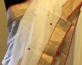 Off white Chanderi silk saree with gold and red border