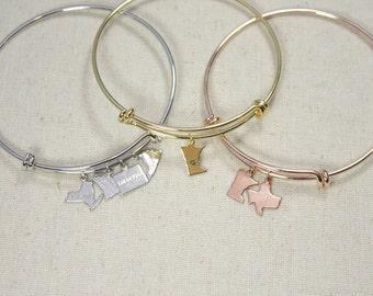 State Bangle | Long Distance Lovers | State Bracelet | Multiple State Bangle | Best Friends Bracelet | Graduation Gift | College | Traveler