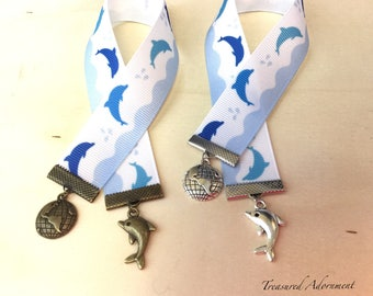 Bookmark, Dolphin Bookmark, Dolphin and Globe charm, Dolphins, School Spirit, Blue, Gift  for Book lover, Bookworm, Thank you gift, teacher