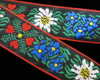 "461.1 Edelweiss trim, Edelweiss ribbon, jacquard trim, German trim, German ribbon, Oktoberfest fabric, ""Edelweiss with Red Hearts"" 1"" (24mm)"