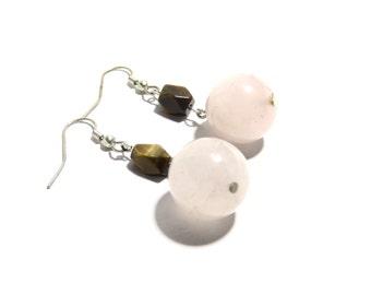 Tiger Eye and Rose Quartz Earrings, Women, Teen, Ready To Ship,,