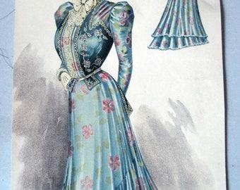 Antique Fashion Print 1800s