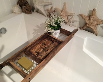 Bath Tray , Bathroom Decor And Accessories , Recycled Pallet Wood , Rustic  Style Bath Rack