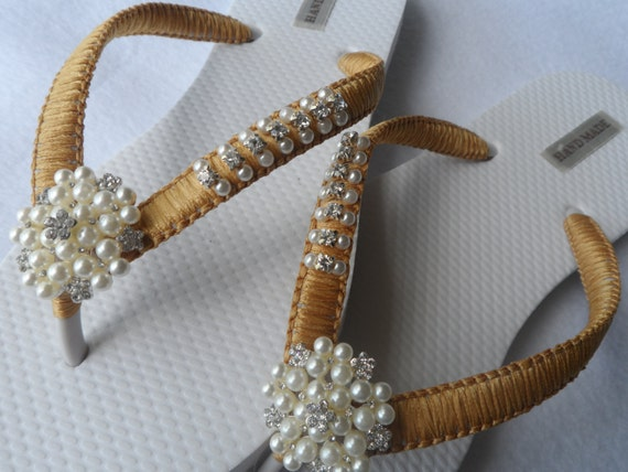 Flip Wedding Pearls Flip Shoes Bridal Flops Sandals Bridesmaid Pearls Rhinestone Flops Gold Gold Color amp; OqwfdAd