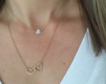 Gold Heart Necklace, Heart Necklace, Heart Gold Necklace, Heart Pendant, Gifts for Mom, Heart Jewelry, Interlocked Heart Necklace