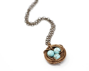 New Mom Gift - Mothers  Necklace - Turquoise Bird Nest Necklace - Christmas Family Jewelry - Woodland Necklace