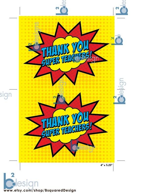 Thank You Super Teachers Cards 4 x 5.25