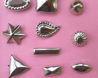 50 nails decoration fancy silver metal