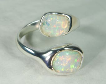Impressive intensive play of colours! Opal double ring, double welo opal ring, Ethiopian opal ring, opal silver ring, opal engagement ring