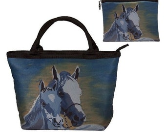 Horse Gift Set: Handbag and Matching Change Purse by Salvador Kitti - Great Valentines Gift