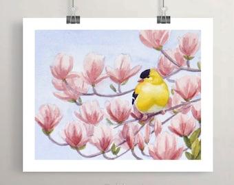 Goldfinch Bird Print, Watercolor Printed Nursery Wall Art, Unframed Kids Room Decor by Janet Zeh Zehland