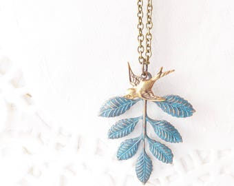 Verdigris Leaf Spray Sparrow Necklace - Verdigris Leaf Branch Necklace - Sparrow Necklace - Woodland Leaf Necklace - Layering Necklace