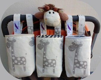 Baby Bottle- Water Bottle Holder for bike,cot & pram/stroller - giraffe-cream/taupe
