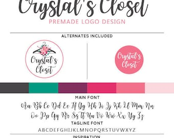 Boho Clothes Hanger Logo & Watermark Premade Design - Custom Business Branding / Personal Name Text Graphics - Alternates Included