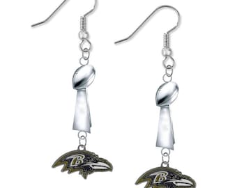 Baltimore Ravens Football Championship Trophy Dangle Hook Earrings (Limited Edition)