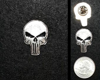 Hand Cast Punisher Skull 1 in. Lapel Pin or Magnet