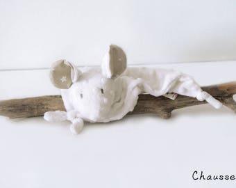 White Mouse blankie - Stuffed Animal - Baby Shower Gift - Baby gift