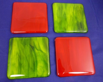 Fused Glass Christmas Red and Green Festive Coasters - set of 4