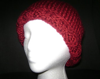 FREE SHIPPING   This is a very warm hat that I have knitted with super bulky 100% acrylic yarn. This is an adult sized hat.