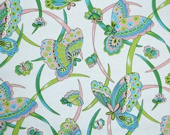 Retro Wallpaper by the Yard 70s Vintage Wallpaper - 1970s Vinyl Green Pink and Aqua Blue Butterflies