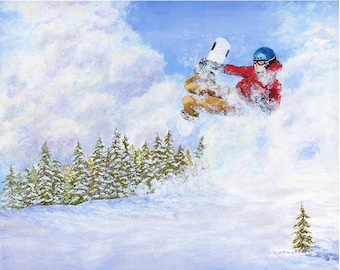 """Flying High, Snowboarder In the Air, Fine Art Giclee, Home Decor, 20"""" x 16"""""""