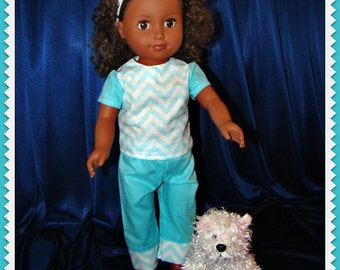 "Light Blue Chevron Pants Outfit with Short Sleeve Blouse & Doll Pet Too; for American Girl Style 18"" Dolls! School n Dress Up Doll Clothes"