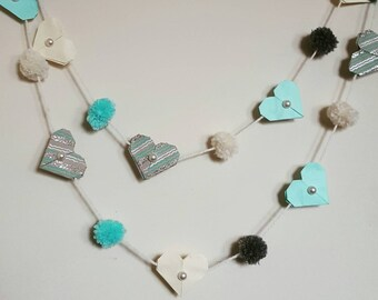 LOVE Hearts and Poms Hanging Garland