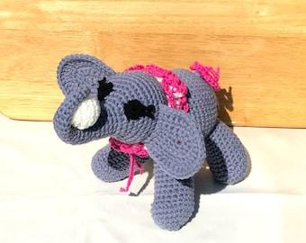 Hand Crochet Elephant Stuffed Animal