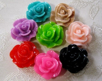 Drilled Resin Rose Flower Beads With Hole Small You Choose Your Colors 13mm 942D