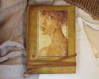 hand painted leather journal -  large art journal with vintage style old paper - original book art object
