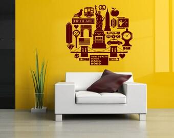 Wall Vinyl Sticker Decals Mural Room Design Pattern Art New York City Travel Country bo1334