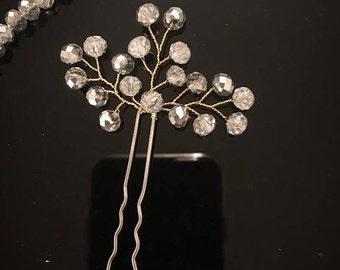 Wedding Hair Pin, Beaded Hair Pin, Bridal Hair Pin, Crystal Hair Pin, Silver Bridal Hair Pin