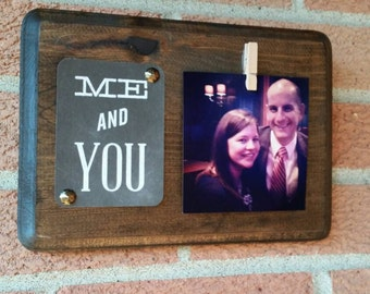 Rustic Wood Photo Holder with  Chalkboard Quote