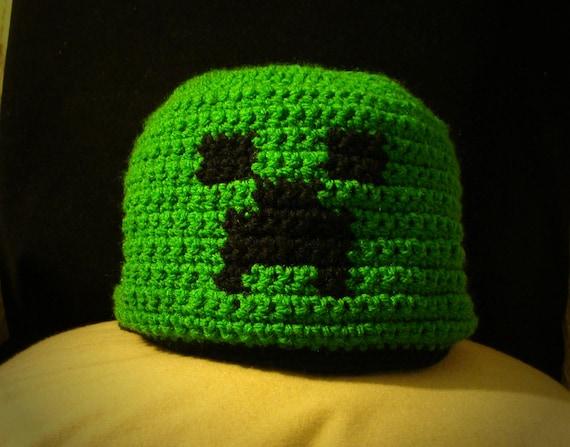 Minecraft Creeper Mütze versandkostenfrei Hand häkeln