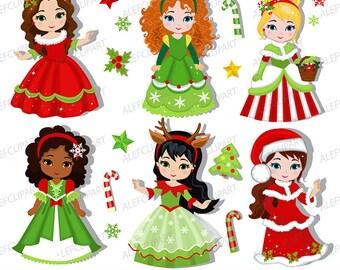 Christmas princesses clipart 3, commercial use, christmas girls, digital clip art.