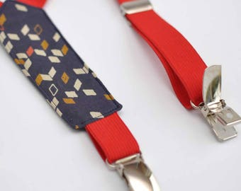 Kids dark blue and elastic straps Red