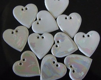 Mother of Pearl Buttons - Upholstery Buttons - Heart Button - Ceramic Button - Craft Buttons - Embroidery Buttons - Price per button UK