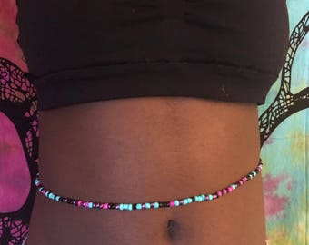 Fuschia and Blue Waist bead