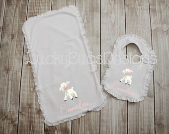 New Baby Bib and Burp Cloth Gift set- baby girl with Little Lamb